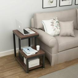 3-Tier Side Table Night Stand with Storage Shelf Metal Frame