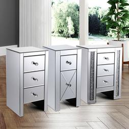 3 Types of Mirrored Drawer Nightstand Accent Table Chest Dre