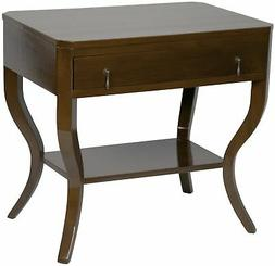"""30"""" Set of Two Side Table Night Stand Birch Distressed Brown"""