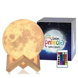 Mind-glowing 3D Moon Lamp - 16 LED Colors, Dimmable, Recharg
