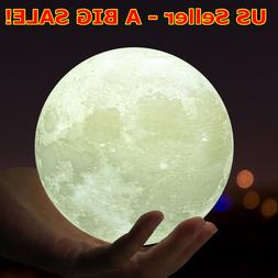 3D Printing Moon Lamp USB LED Night Lunar Light Touch Color