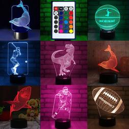 3D Visualization LED Night Stand Light Lamp 7 Color Changing