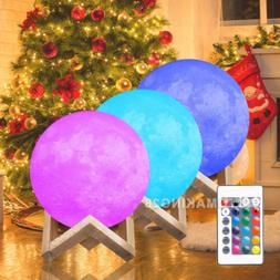 "4.7"" 3D LED Moon Lamp 16 Colors Lunar Night Light Remote Hom"
