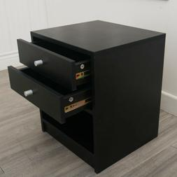 40 x 36 x 47cm Round Handle Night Stand with Two Drawer Blac