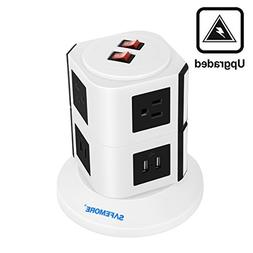 Safemore 6 Outlet Surge Protector Power Strip with USB Smart