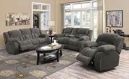 Coaster Home Furnishings 601922 Motion Loveseat Charcoal NEW