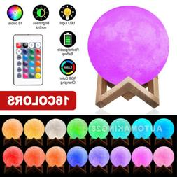"7.9"" 3D Moon Lamp 16-Color Lunar Night Light 20cm Remote Hom"