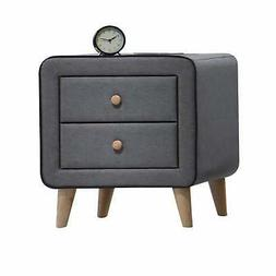 ACME Valda Nightstand, Light Gray Fabric Light Gray Fabric T