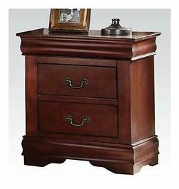 Acme Louis Philippe Nightstand with 2 Drawers in Cherry End