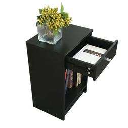 Black Round Handle Night Stand 40 x 30 x 60cm with One Drawe