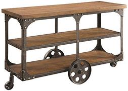 Sofa Table with 2-shelf Rustic Brown