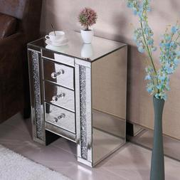 Crystal Nightstand Bedside Table 3 Drawers & Rectangle Mirro