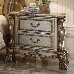 Dresden Antique Bedroom Night Stand Storage Drawers Wood Gol