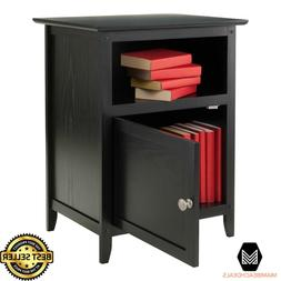 End Table/Night Stand with Door and Shelf Black Winsome Wood