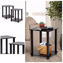 End Table Set of 2 Espresso Black Pair Bedroom Night Stand W