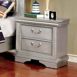 Furniture of America Brummel Traditional Silver 2-drawer Nig