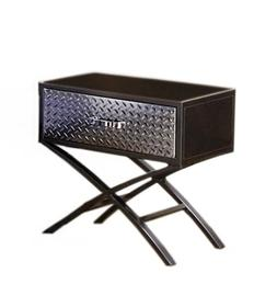 Furniture of America Nervus Nightstand with Metallic Face Dr