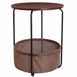 Lifewit 2-tier Round Side End Table with Storage Basket, Nig