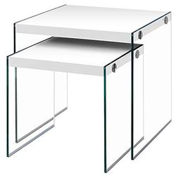 Monarch Specialties I 3287,Nesting Table, Tempered Glass, Gl