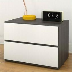 Nexera 222233 Night Stand, Ebony and White