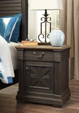 Nightstand Table Cabinet w/ Drawer Vintage Rustic Style Anti