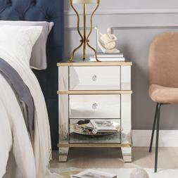 Osma Bedroom Mirrored & Gold Side End Table Night Stand Nigh