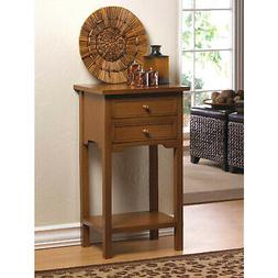 Side End Table Natural Wood Color with Two Drawers and Displ