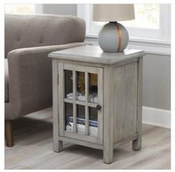 Side Table Gray End Accent Nightstand Cabinet Glass Door Bat