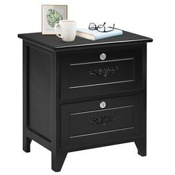 Solid Wood Elegant Night Stand W/2 Locking Drawer Storage Sh
