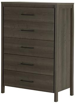 South Shore Gravity 5 Drawer Chest, Gray Maple