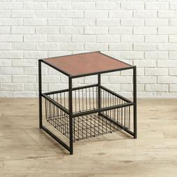 Square Brown Side Table Night Stand Black Metal Frame Storag