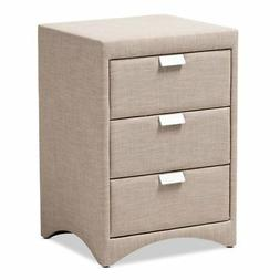 Talia Modern and Contemporary Beige Fabric Upholstered 3-Dra