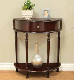 Walnut Console End Table Night Stand Wooden D Half Circle Ha