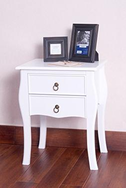 White Finish Curved Legs Accent Side End Table Nighstand wit