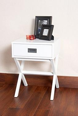 White Finish Modern X-Shape Accent Side End Table Nighstand