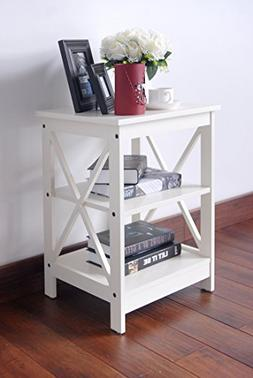 White Finish Wooden X-Design Chair Side End Table with 3-tie