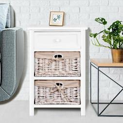 White Night Stand 3 Tiers 1 Drawer Bedside End Table Organiz