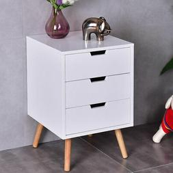White Side End Table Nightstand w/ 3 Drawers Mid-Century Acc