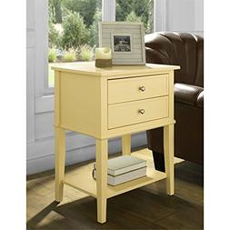 Accent End Table with 2 Storage Drawers - Bedroom Nightstand