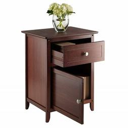 Accent Table Night Stand Storage Compartment Walnut Finish S