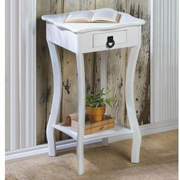 White Accent Table with Curved Legs Night Stand End Table Sc