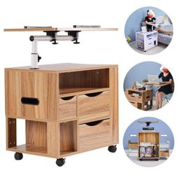 Adjustable Angle & Height Rolling Laptop Notebook Desk Night