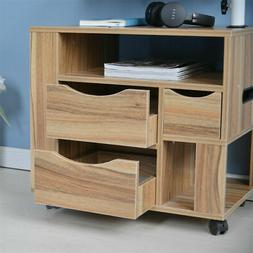 Adjustable Bedside Table Laptop Wheels Wooden Desk Home Offi