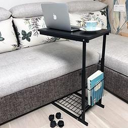 micoe Height Adjustable with Wheels Sofa Side Table Slide Un