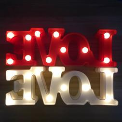 Alphabet Love LED Letters Light Up White Red Night Party Sta