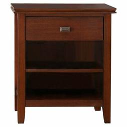 Simpli Home Artisan Solid Wood Bedside Table, Medium Auburn