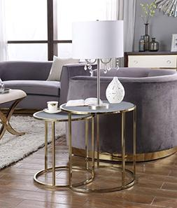 Iconic Home Avery Nightstand Side Table 2 Piece Set Gold Fin