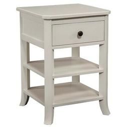Baker Nightstand with Drawer and 2 Open Shelves in White Fin