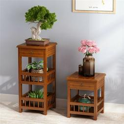 bamboo side end table with shelves 3