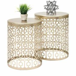 BCP Set of 2 Decorative Round Side Accent Table Nightstands